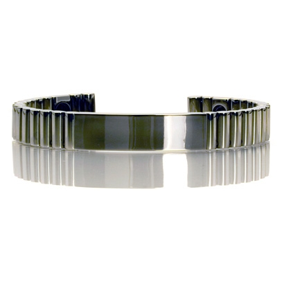 Q-link Polished Titanium Srt-3 Bracelet - Dark Grey - L